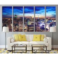 b822a3bea ART City Wall Art - New York City Skyline Navy Blue Night Canvas Print, New