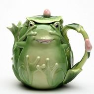 616a3671e ATD 6.25 Inch Playful Smiling Green Fairy Frog Teapot with Lily Pad Lid