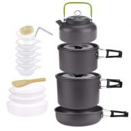 CAMEAGLE Camping Tableware 3-5 Person Camping Hiking Travel Cookware Utensils Outdoor Tableware Set Picnic Tableware Pot Pan Bowl Non Toxic Materials Food Fruit Storage Kit
