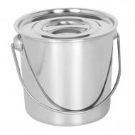 Prettyia Stainless Steel Cook Stockpot Water Soup Milk Container Bucket with Lift Handle and Cover Outdoor Home Use Cooking Utensil