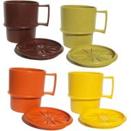 Vintage Tupperware Stackable coffee mugs with lids/coasters - Autumn Harvest - set of 4